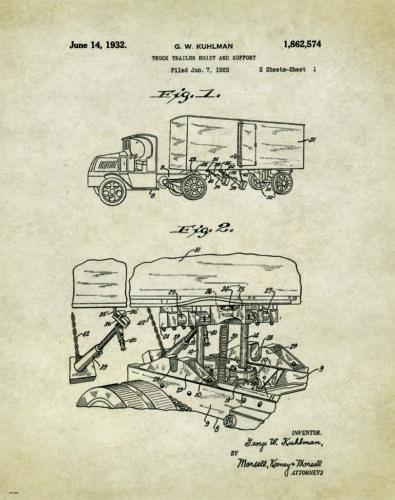 Semi Truck Patent Poster Art Print  Peterbilt Mack Toys Parts Vintage  PAT303