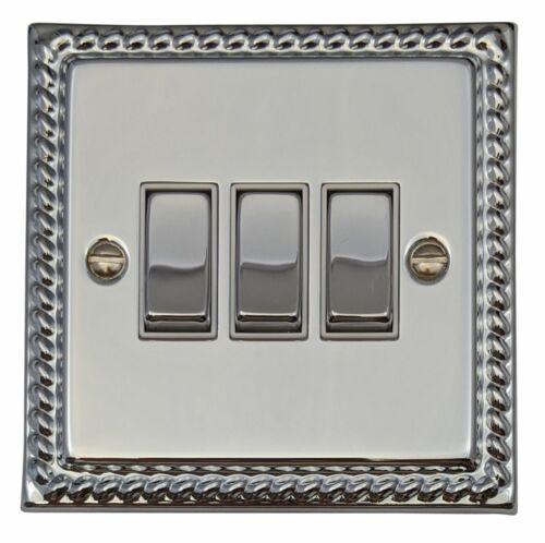 G/&H MC203 Monarch Roped Polished Chrome 3 Gang 1 or 2 Way Rocker Light Switch