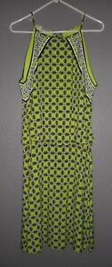 Maggy-London-Green-Black-White-Sleeveless-Sheath-Tunic-Dress-Size-14-EUC