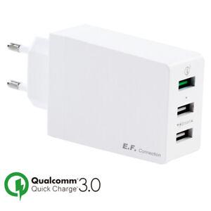 Caricabatterie USB 3 Porti Adattatore Murale Universale Veloce Rapido Carica 3.0