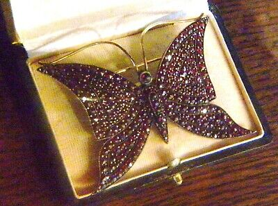 Antik Art Deco Riesige 7 X 5,5 Cm Granat Silber Schmetterling Brosche RaritÄt