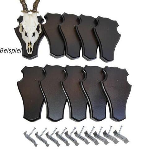 10 x Trophäenschild Reh groß stumpf dunkel mit 10 Stück Gehörnklammern Schilder
