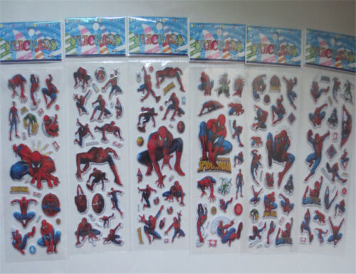 6Pcs//Set Spider Man Cartoon Decal 3D Stereoscopic Stickers lovely Present Useful