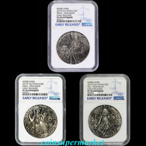 2017 P Norse Goddesses Frigg HIGH RELIEF ANTIQUED 2Oz Silver $2 COIN NGC PF70 FR