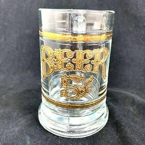 Beer-Stein-Heavy-Gold-Trim-Mug-Vintage-Glass-Cup-Clear-5-5-Inches-Tall