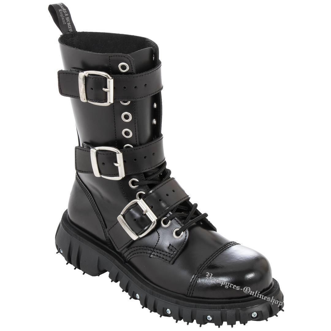 botas & Stiefel Braces 12-Loch Massiv 3-Schnallen Stiefel & Negro Leder Negro Buckle fea013