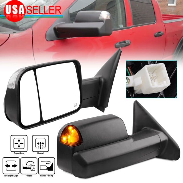 Fit 02-09 Dodge Ram Towing Power Heated With Turn Signal Light Mirrors Pair