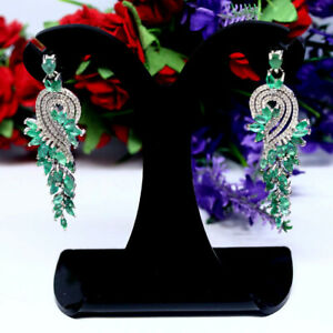 NATURAL-GREEN-EMERALD-amp-WHITE-CZ-LONG-EARRINGS-925-STERLING-SILVER