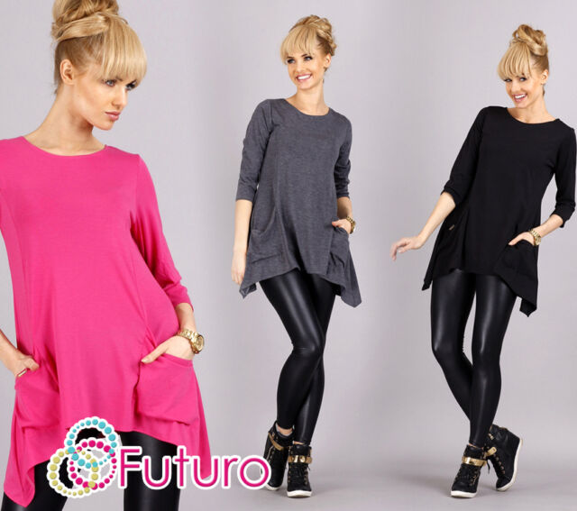 Women's Mini Dress With Pockets Casual Top 3/4 Sleeve Crew Neck Tunic FA289