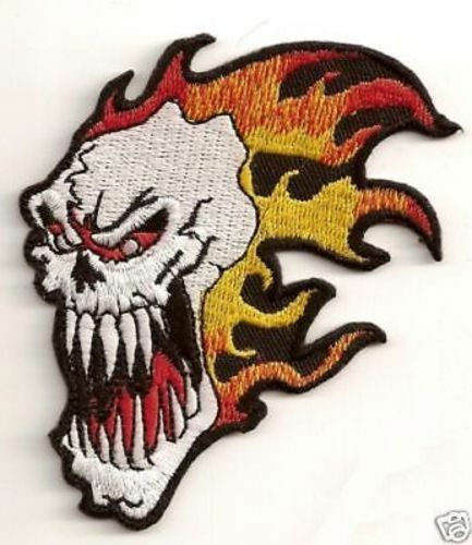 SCREAMING SKULL FLAMES Motorcycle MC Club Embroidered Biker Vest Patch PAT-1597