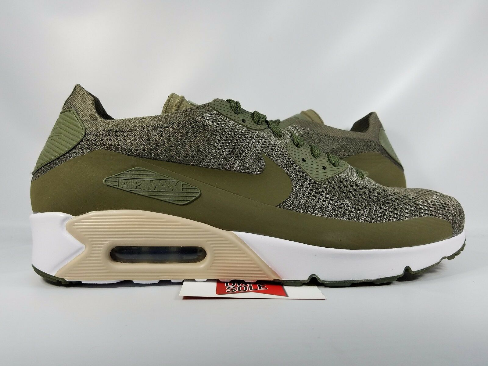 Nike Air Max 90 Ultra 2.0 Flyknit OLIVE GREEN WHITE BLACK ALL 875943-200 sz 12