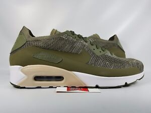 bbe4837b96d1d Nike Air Max 90 Ultra 2.0 Flyknit OLIVE GREEN WHITE BLACK ALL 875943 ...