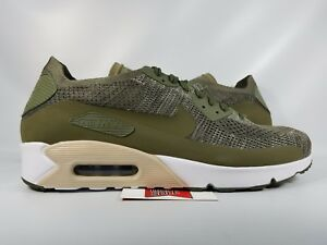 Nike Air Max 90 Ultra 2.0 Flyknit OLIVE GREEN WHITE BLACK ALL 875943 ... 248966d33
