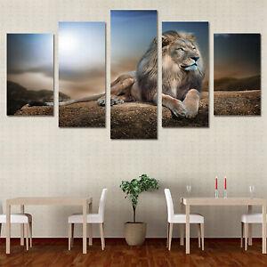 Leinwand-Bild-Loewe-Tier-Natur-Wandbilder-Wohnzimmer-Kunstdruck-Wand-Deko-Bilder