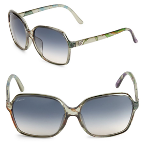 991eedf634d GUCCI GG 3636 N F S Square Women Sunglasses Floral Crystal Green ...