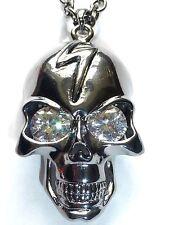 Black Metallic Silver Lightning Bolt Crystal Eyed Skull Necklace Metal Pendant