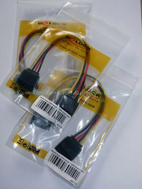 Delock 60114 Kabel Strom Power SATA Buchse -> SATA Buchse 20cm **OVP **NEU **TOP