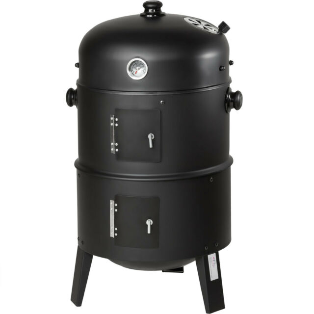 3in1 BBQ Barbecue Charcoal Smoker Grill with Temperature Display