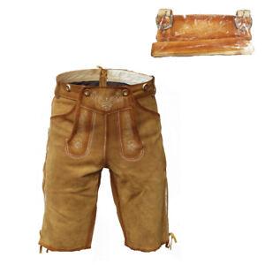 Costumes Lederhose Short Bavarian Leather Pants Antique Brown with belt size 44-62