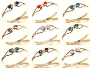 Bracelet-Bangel-Cuff-Silver-Plated-Handmade-Gemstone-Jewellery-Adjustable-Ac31