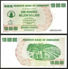 ZIMBABWE 100 Million Dollars 2008 UNC P 58