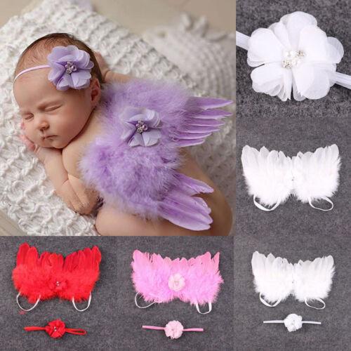 Fashion Newborn Baby Kids Feather Lace Headband /& Angel Wings Flowers Photo Prop