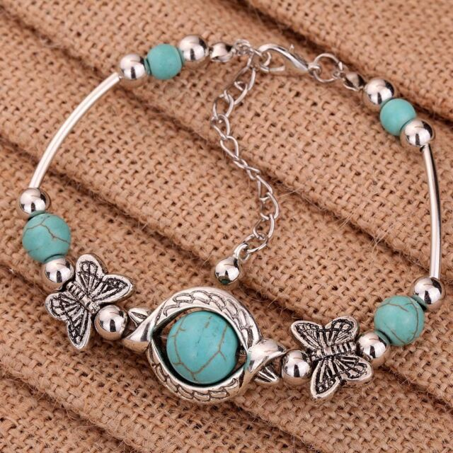 Tibetan Silver Butterfly Shape Round Turquoise Beads Chain Bracelet Bangle