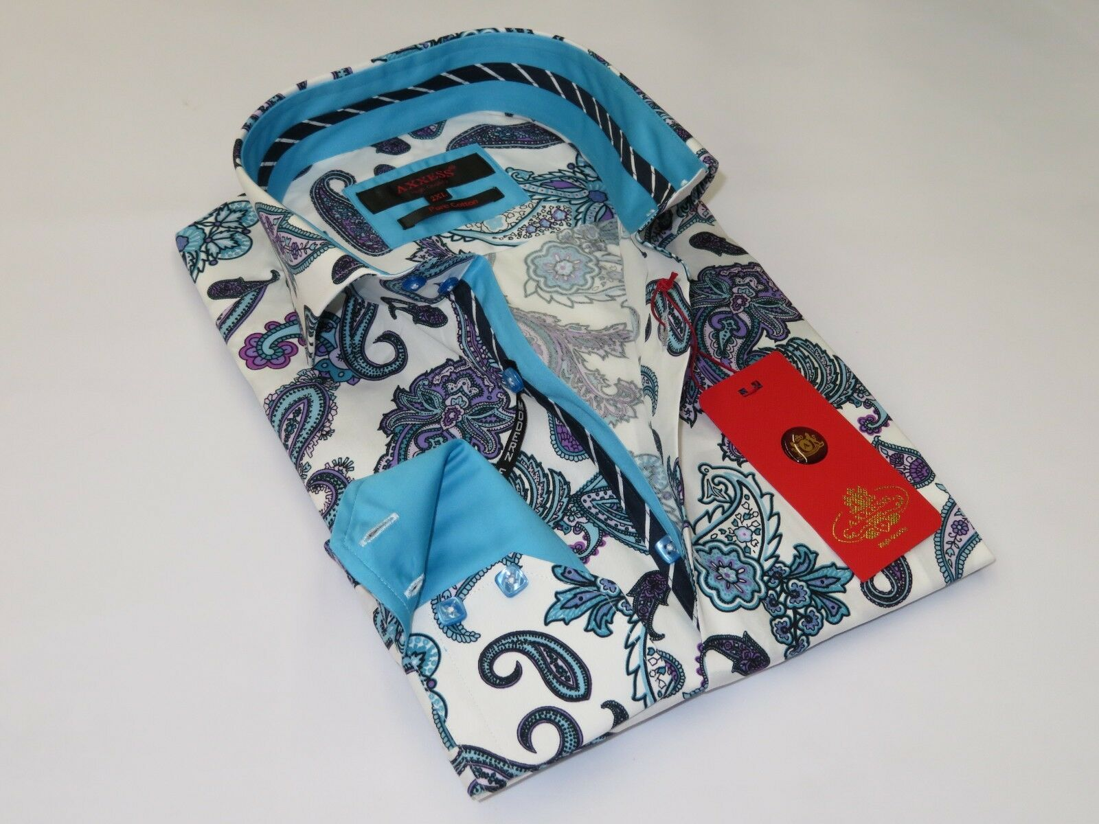 Herren Axxess Egyptian Cotton European Shirt High Collar 818-06 Teal Blau Paisley