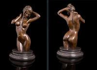 Art Deco Sculpture Nude Woman Girl Erotic Female Body Bronze Statue #02