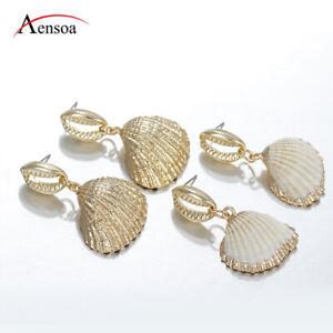 New-Women-Summer-Sea-Shell-Pendant-Statement-Dangle-Drop-Earrings-Bride-Jewelry