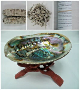 Abalone-Shell-6-034-Wood-Stand-2-x-White-Sage-Smudge-Sticks-Sage-Leaves-amp-Guide