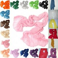 Hot Women Long Big Crinkle Voile Soft Scarf Wrap Shawl Stole Pure Candy 21 Color