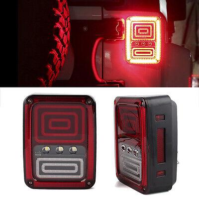 Schwarz Leuchten Bremsleuchten LED Rücklicht DRL Für 07-17 Jeep Wrangler JK
