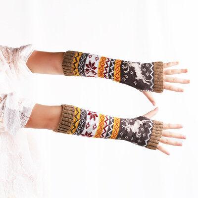 Women Winter Moose Elbow Gloves Crochet Knit Mittens Lovely Arm Warmer