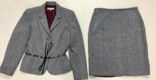 Kay Unger Womans Black White Herringbone Suit Set