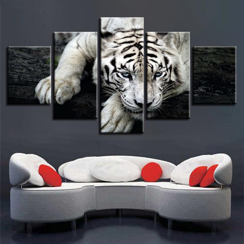 Tiger Face Wildlife Animal 5 Panel Canvas Print Wall Art