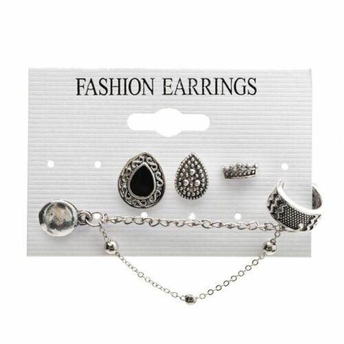 Vintage 12Pairs Women Ear Clip Boho Hoop Bohemia Earrings Set Cuff Stud Crystal
