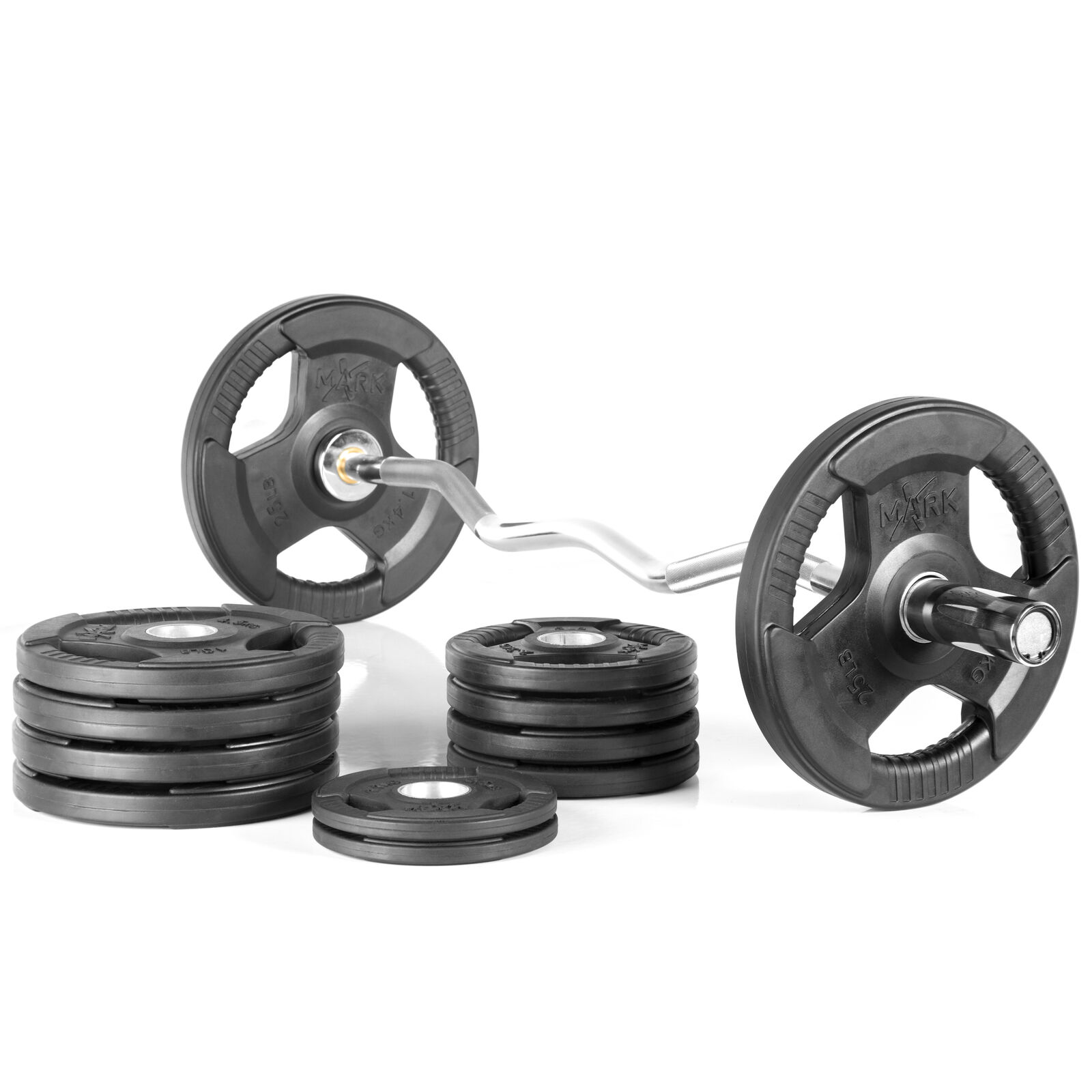 XMark XM-3675-CHROME-BAL-115 Olympic Curl Bar with 115 lb. Olympic Weight Set