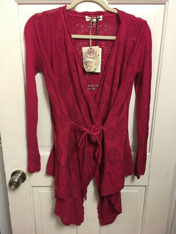 NWT Odd Molly Anthropologie Time Out Cardigan In Rasberry M  220