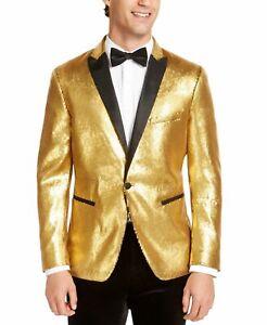 INC Mens Blazer Gold Black Size Medium M Sequin One-Button Slim-Fit $149 228