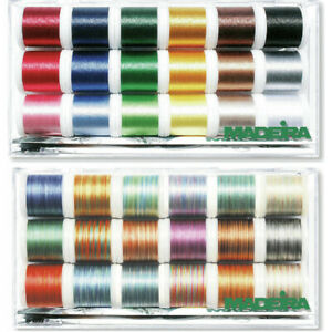 Madeira Clear Box Thread Polyneon No.40 18 x 400m Spools Sewing Colour Fast Sew