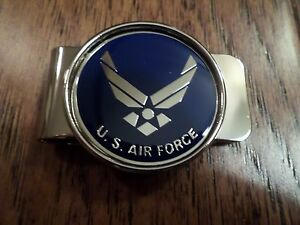 U.S MILITARY AIR FORCE MONEY CLIP BRASS CONSTRUCTION OFFICIAL AIR FORCE PRODUCT