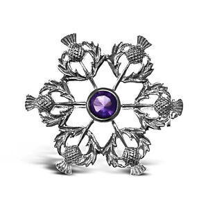 Sterling-Silver-amp-Amethyst-Thistle-Brooch