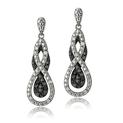 1/4 Ct Black & White Diamond Intertwining Infinity Dangle Earrings in Brass