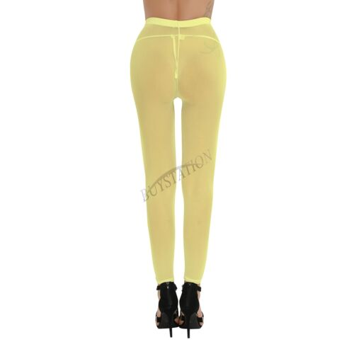 Womens Mesh Sheer See-through Legging Pants Belly Bottoms Fitness Yoga Trousers