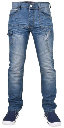Enzo Mens Denim Jeans Straight Leg Regular Fit Trousers Pants All Waist Sizes