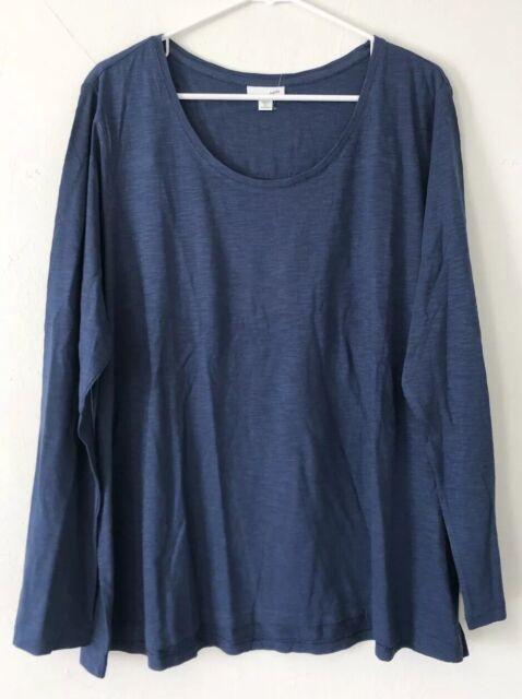 NEW J. JILL 1X 2X 3X Top Scoop neck Tee Shirred-back Shirt L/S Cotton Blue