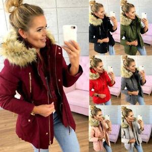 Women-039-s-Winter-Warm-Hooded-Coat-Outwear-Fur-Collar-Jacket-Parka-Overcoat-Peacoat