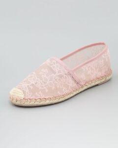 5f32ce8716956 Image is loading Valentino-Garavani-Gardenia-Pink-Floral-Lace-Flat- Espadrilles-
