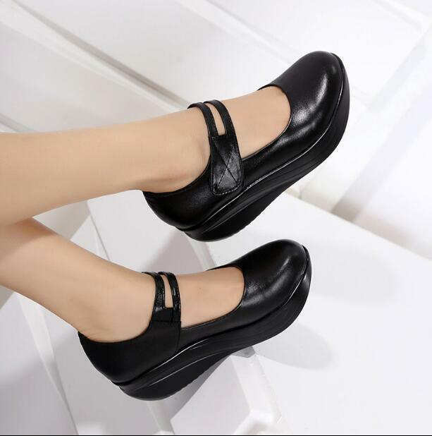 Spring Lady's Leather Mary Jane Ankle Strap Wedge Heel Nurse Wedge Pumps chaussures
